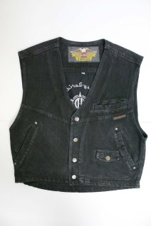 Harley Davidson black denim vest frontal