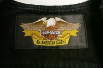 Harley Davidson black denim vest label detail