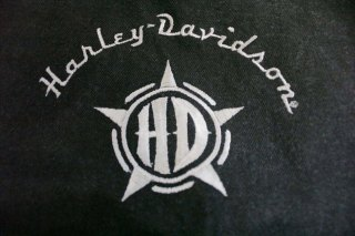 Harley Davidson black denim vest rear design detail