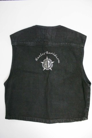 Harley Davidson black denim vest rear